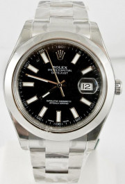 Rolex Men's 41mm Datejust II Ref 116300 Stainless Steel Oyster Band Black Index Dial & Smooth Bezel - Unused