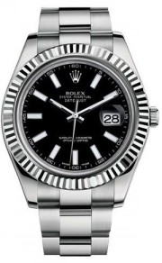 Rolex Datejust II 116334 Stainless Steel Oyster Band White Gold Fluted Bezel & Black Stick Dial - 41mm