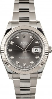 Rolex Datejust II 116334 Stainless Steel Oyster Band White Gold Fluted Bezel & Dark Silver Diamond Dial - 41mm