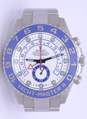 Rolex 44mm Yachtmaster II Model 116680 New Style Heavy Band Stainless Steel Watch With A Blue Ceramic Bezel & White Dial.Unused