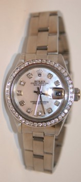 Rolex Datejust 69160 Ladies Stainless Steel Oyster Band Custom Mother of Pearl Diamond Dial and 1.5ct Channel Diamond Bezel