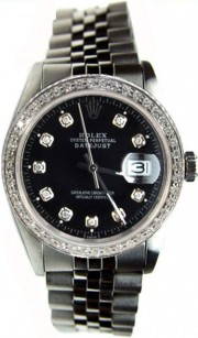 Like New Rolex Datejust Men's Stainless Steel Jubilee Band w/Custom Added Black Diamond Dial and 1ct Diamond Bezel-80's