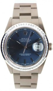 Rolex Datejust Men's Perfect New Condition Model 16200 Stainless Steel Oyster Band w/ Blue Stick Dial and Custom Added Diamond Bezel-90's