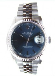 Rolex Datejust Midsize Model 68274 Stainless Steel Jubilee Band w/Blue Stick Dial and WG Beze