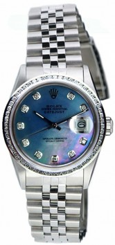 Rolex Datejust Midsize Perfect Condition Model 68240 Stainless Steel Jubilee Band w/ Custom Added Diamond Bezel and Blue MOP Diamond Dial-90's