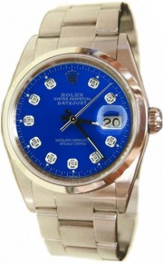 Rolex Datejust Men's Perfect New Condition Model 16200 Stainless Steel Oyster Band w/Custom Added Metallic Blue Diamond Dial and Smooth Bezel-90's