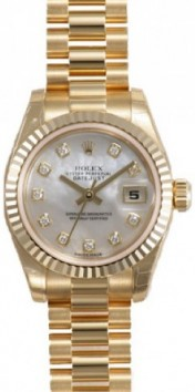 Rolex President 178278 Midsize 18K Yellow Gold Heavy Band Model with Factory Mother of Pearl Diamond Dial