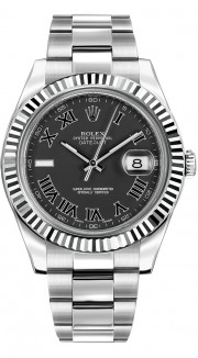 Rolex Datejust II 116334 Stainless Steel Oyster Band White Gold Fluted Bezel & Black Roman Dial - 41mm