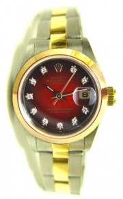 Rolex Datejust Lady's Perfect Condition Steel and Gold Oyster Band with Custom Added Red Vignette Diamond Dial - 90's Amazing