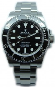 "Rolex Submariner 114060 Stainless Steel Ceramic Black Face ""Non Date Style"""