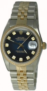 As NEW Display Model Rolex Men's Model 16233 Steel and Gold Jubilee Band with Custom Added Blue Vignette Diamond Dial - 2000's