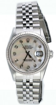 Rolex Datejust Midsize Model 68274 Stainless Steel Jubilee Band w/ Custom Added MOP Diamond Dial and WG Fluted Bezel-