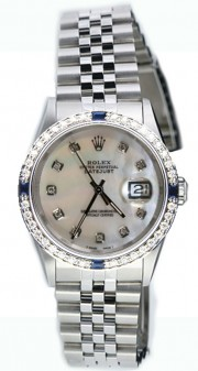Rolex Datejust Midsize 68240 Stainless Steel Jubilee Band Custom Sapphire Diamond Bezel and Mother of Pearl Diamond Dial