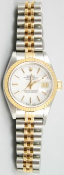 Rolex Datejust Lady's Perfect Condition Steel and Gold Jubilee Band Model 69173 with White Stick Dial - 90's