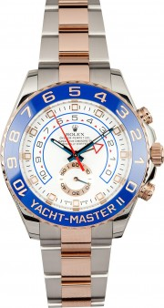 Rolex 44mm Yachtmaster II Model 116681 Heavy Band Stainless Steel & 18K Pink Gold Watch With A Blue Ceramic Bezel & White Dial