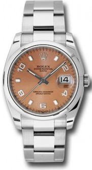 Rolex Date 115200 34mm Stainless Steel Oyster Band Model with a Pink Arabic Dial
