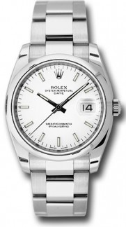 Rolex Date 115200 34mm Stainless Steel Oyster Band Model with a White Stick Dial