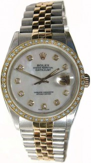 Like New Rolex Datejust Men's Model 16013 Steel and Gold Jubilee Band w/Custom Added Bead Set Diamond Bezel and Mother of Pearl Diamond Dial