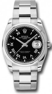 Rolex Date 115200 34mm Stainless Steel Oyster Band Model with a Black Roman Dial